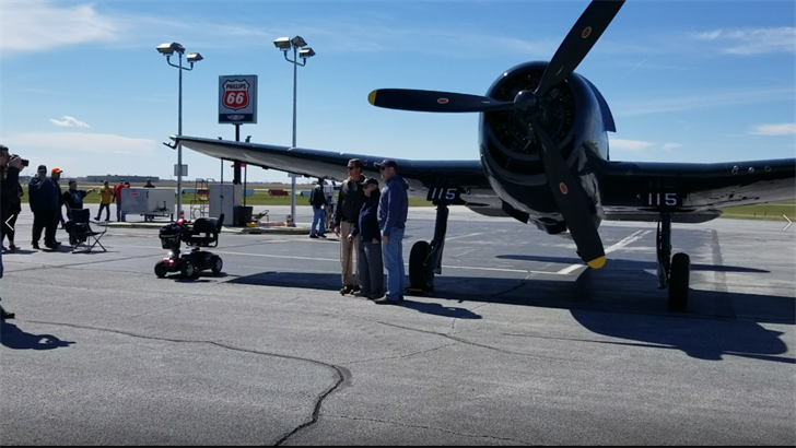Adams Navy WWII aviator visits restored Hellcat F6F fighter