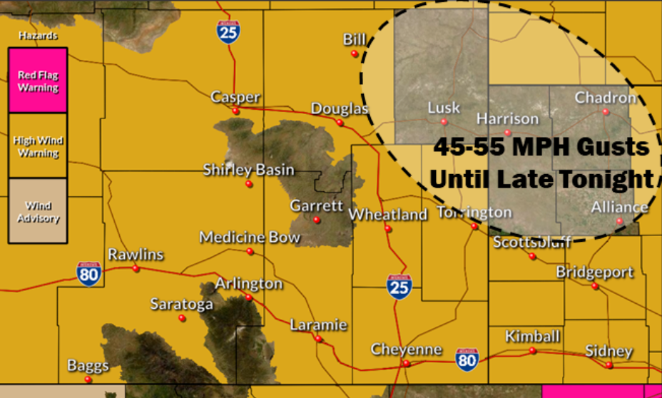 High Wind Warning issued for Panhandle Monday evening