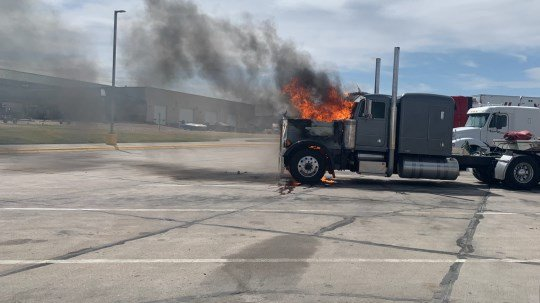 Sidney Fire Department responds to semi truck fire near Cabela's