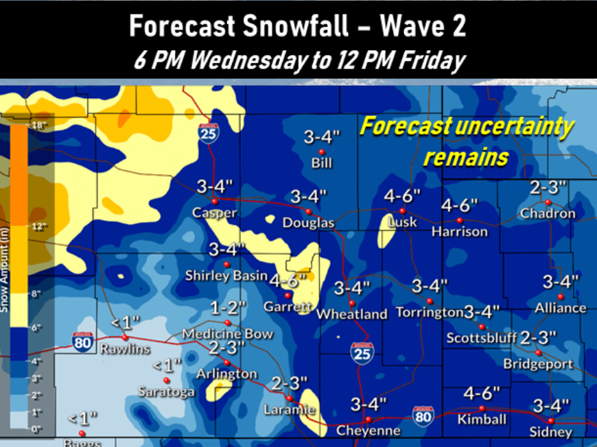 National Weather Services releases initial snowfall predictions for late week storm