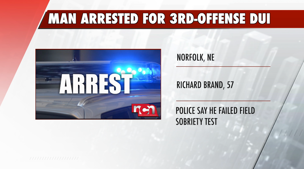 Norfolk Man Arrested on 3rd-Offense DUI Charge