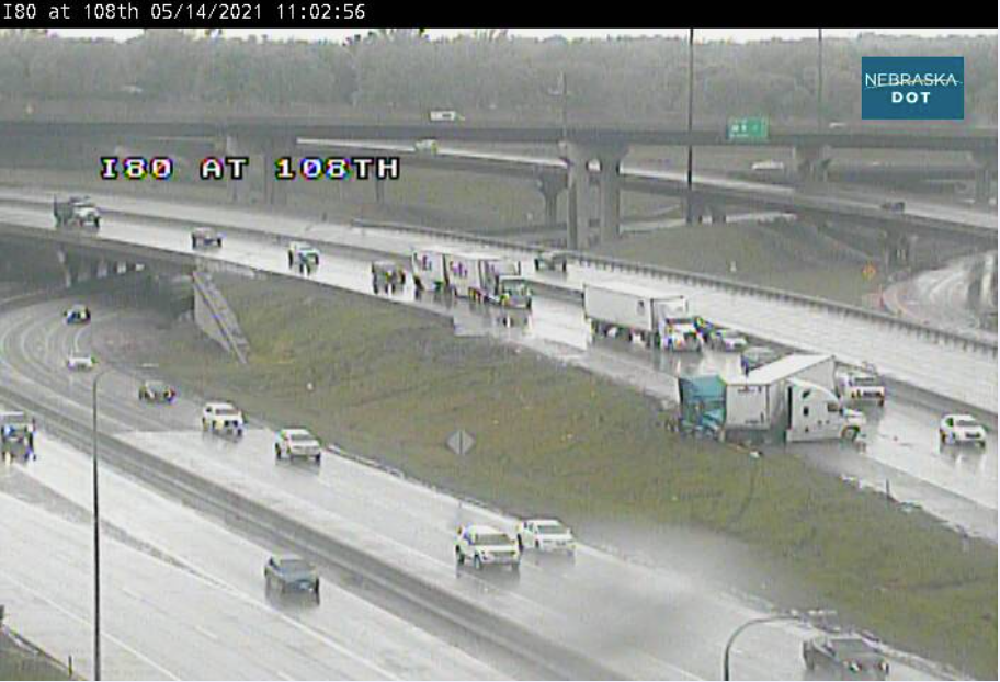 I-80 semi accident impacting traffic in Omaha