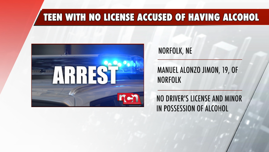 Teen driver with no license accused of being in possession of alcohol