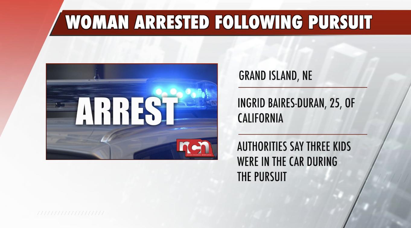 Woman arrested after pursuit in Central Nebraska