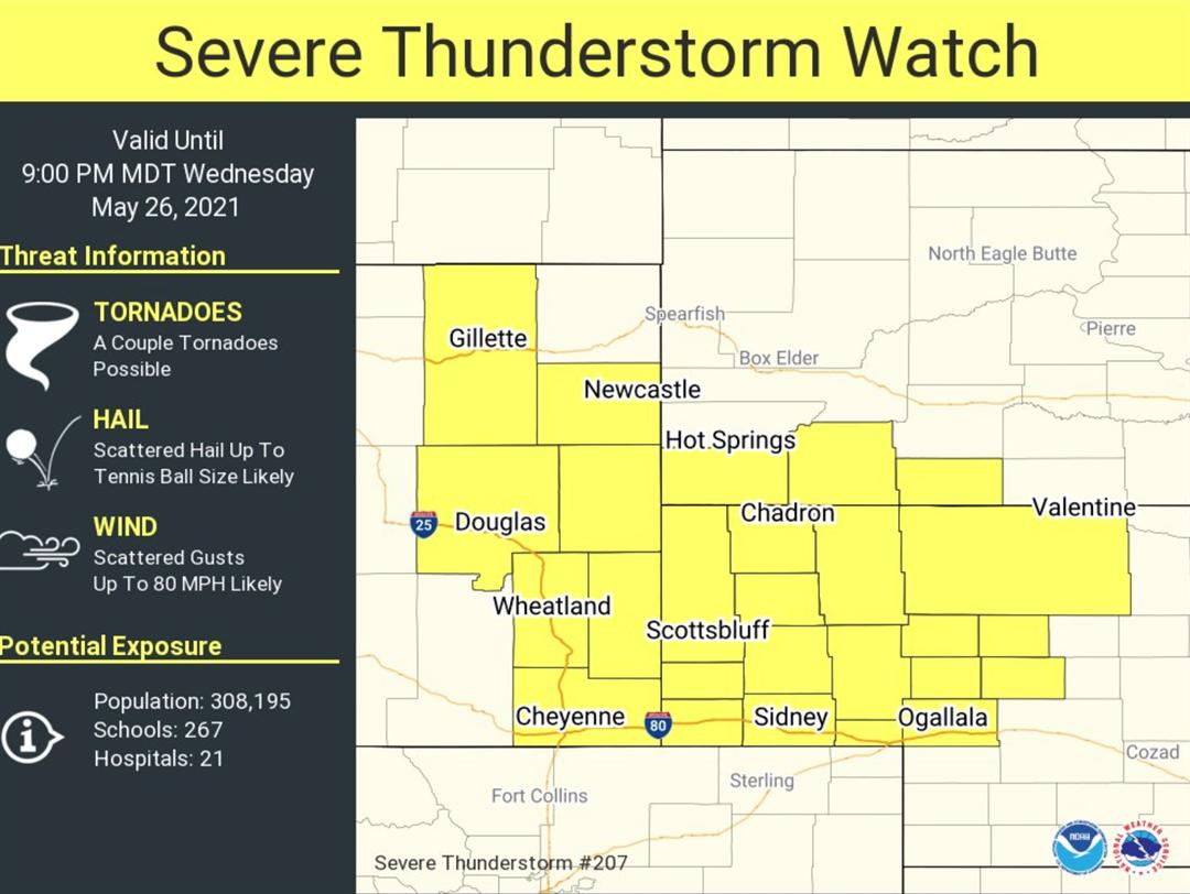 Western Nebraska under severe thunderstorm watch