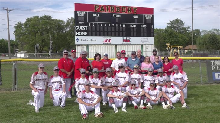 Fairbury cuts ribbon on new baseball field scoreboard