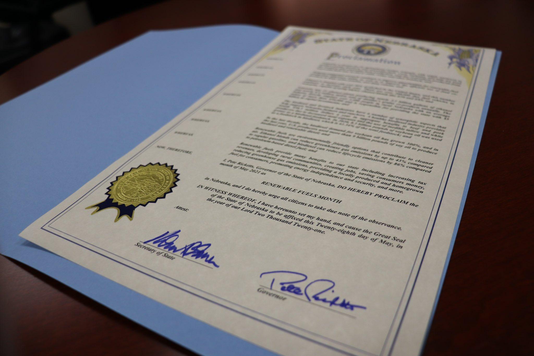 Gov. Ricketts proclaimed May, Renewable Fuels Month in Nebraska