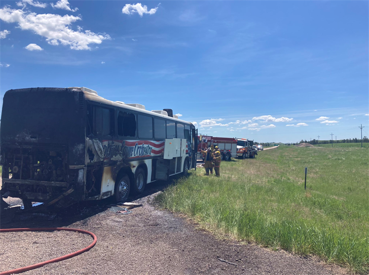 Everyone safe after bus fire south of Crawford