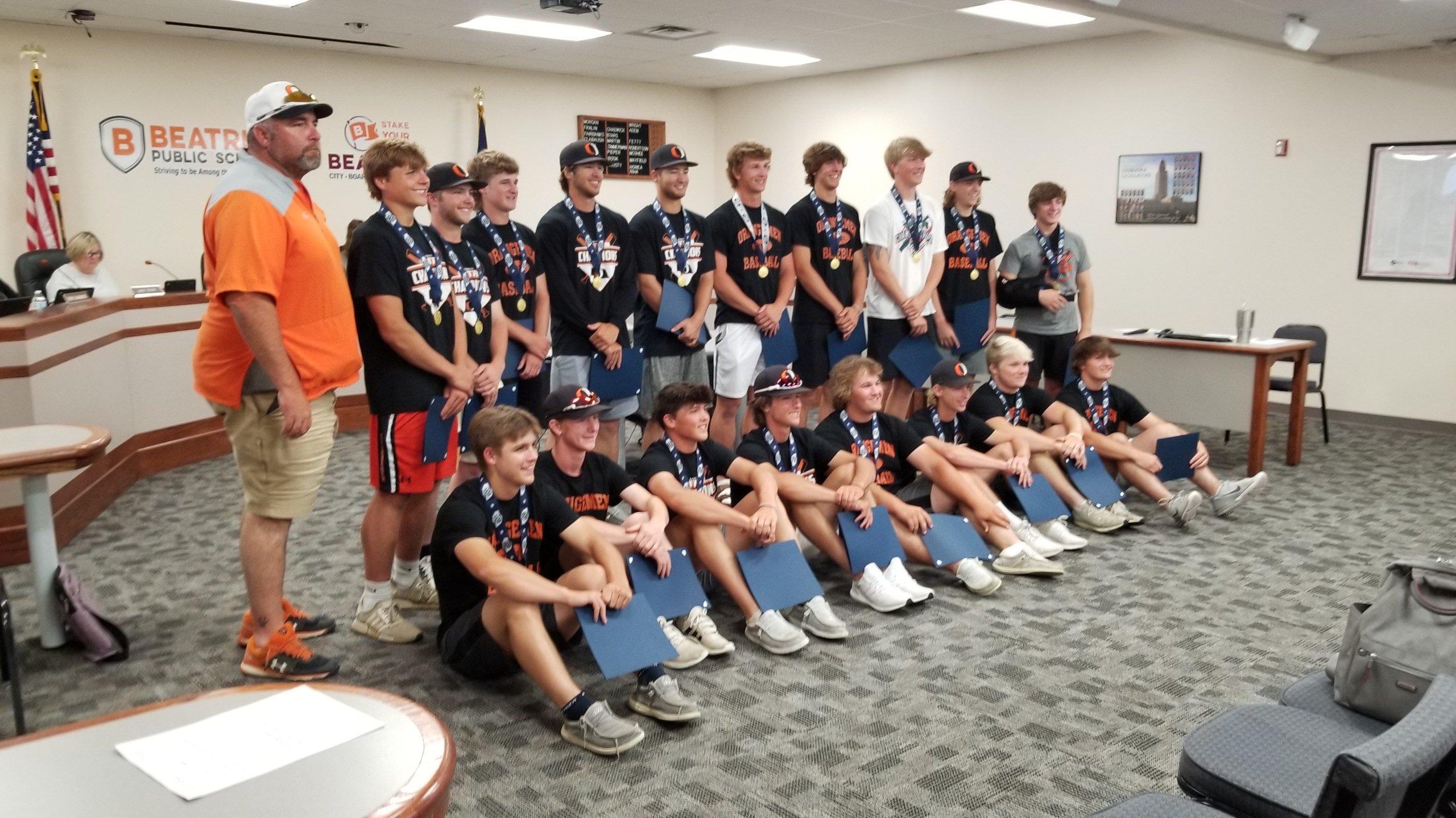 Beatrice School Board honors Class B Orangemen Baseball title team