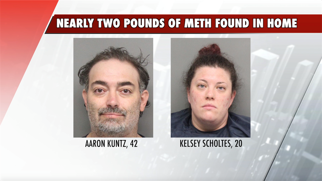 Two pounds of meth and thousands in cash found in home