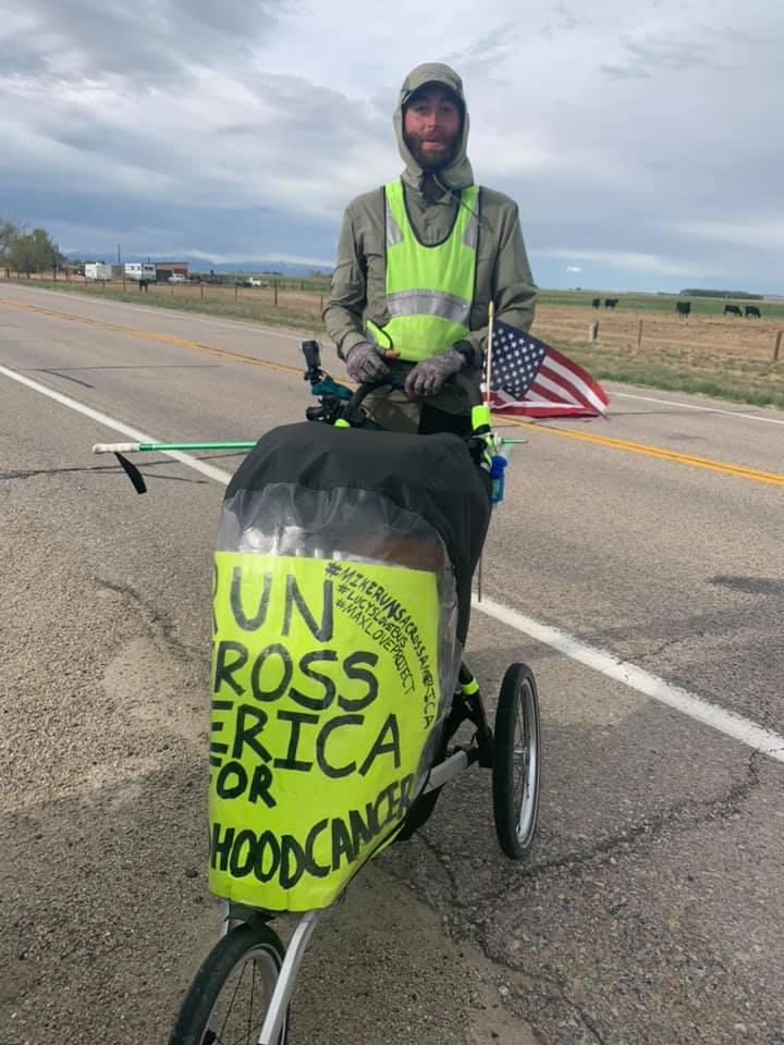 Man walking across country for childhood cancer awareness passes through Nebraska