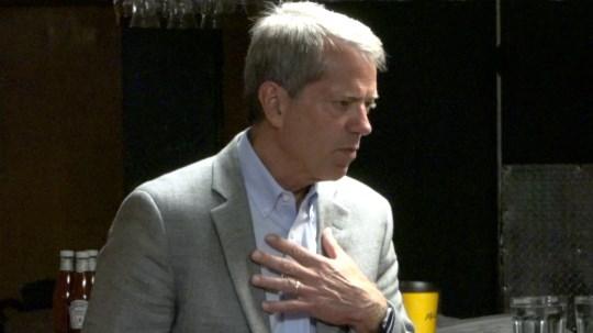 Nebraska gubernatorial candidate Jim Pillen talks with voters in Sidney