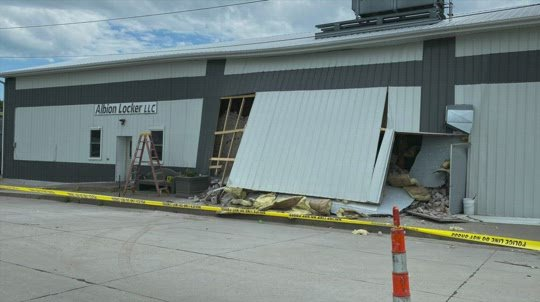 Albion meat locker partially collapses