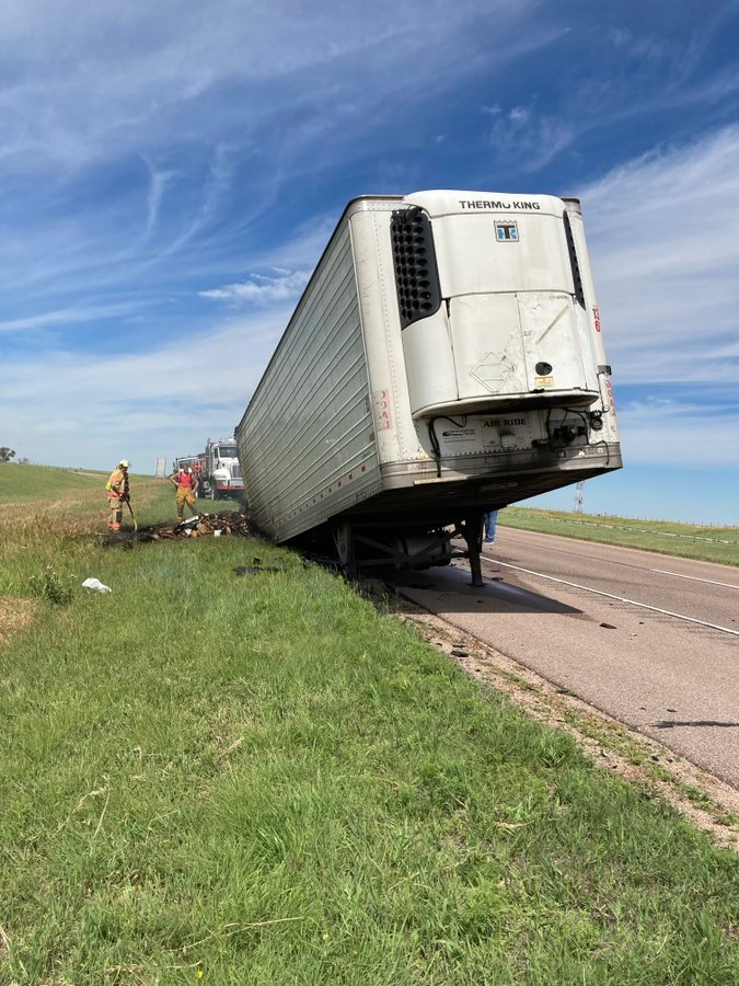 Semi-tractor-trailer fire diverts traffic off Interstate 80 at Sidney