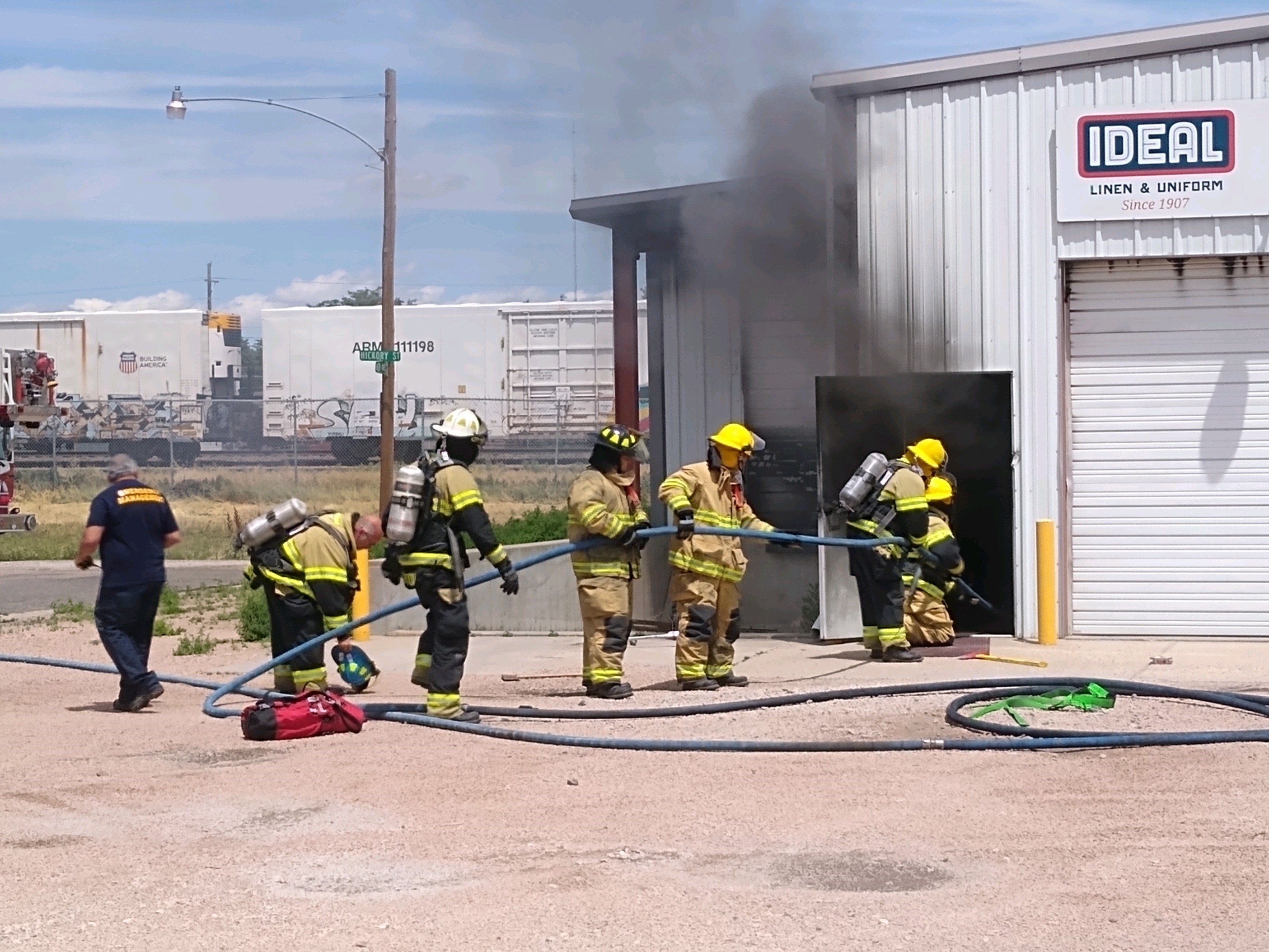 Fire fighters respond to emergency call at Ideal Linen and Uniform in Sidney