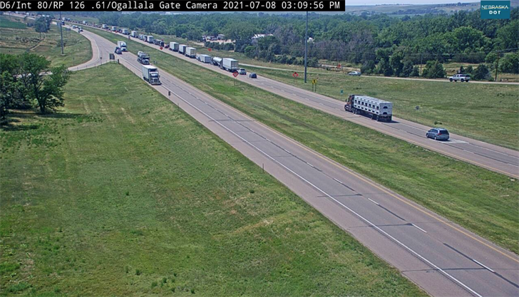 Traffic backed up on I-80 between Brule and Ogallala Thursday afternoon