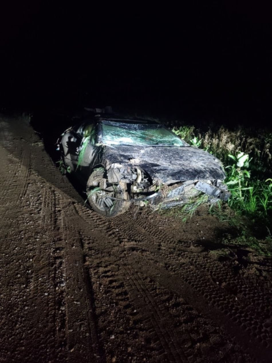 Driver hospitalized after car flips, west of Beatrice