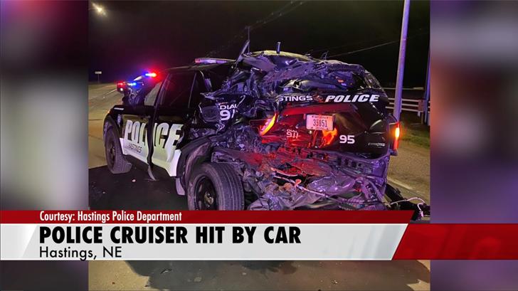Hastings patrol car hit by car while diverting traffic