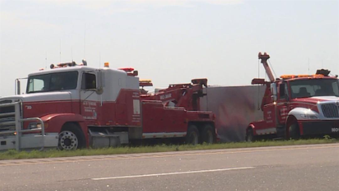 Semi-tractor-trailer overturns near Brady