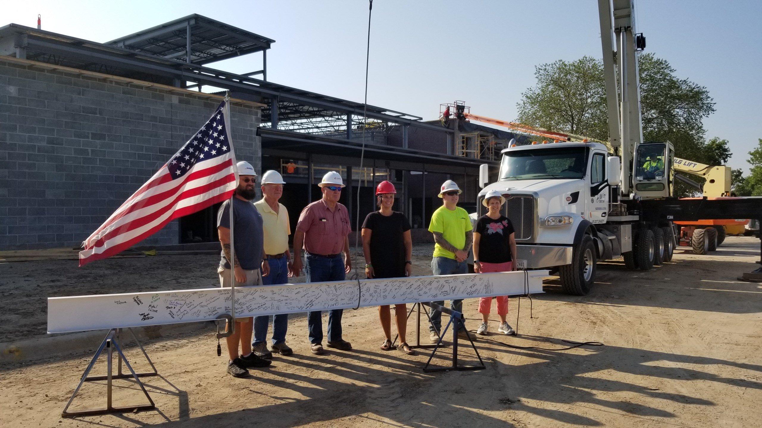Raising the beam, at the Southeast Nebraska YMCA