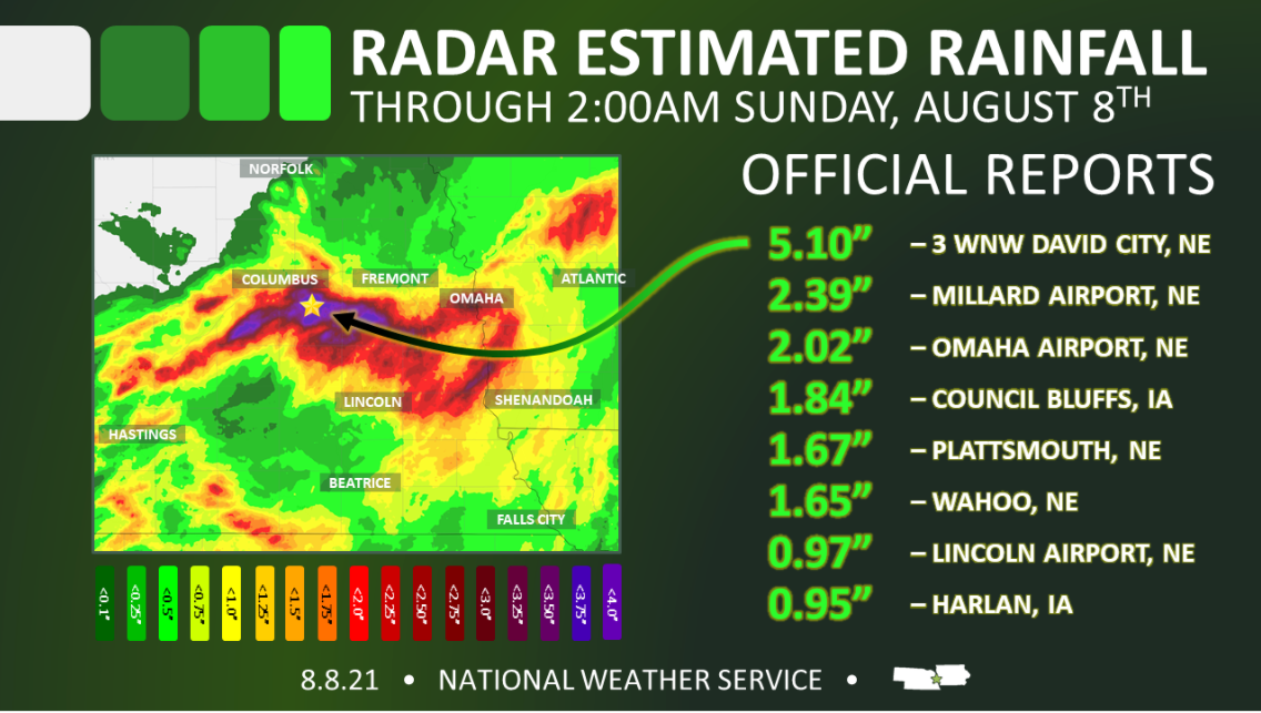 Rainfall totals pile up late Saturday night and early Sunday