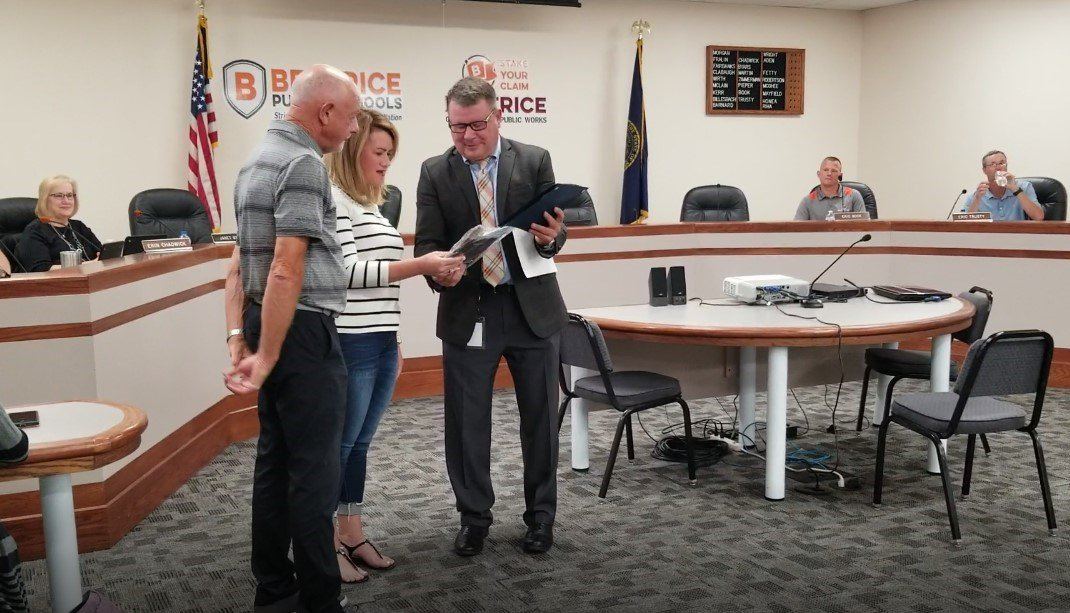 Investment firm recognized for sports equipment donation, to Beatrice Public Schools