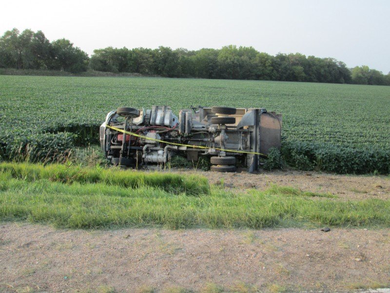 Crete man injured in truck overturn accident, in northern Gage County