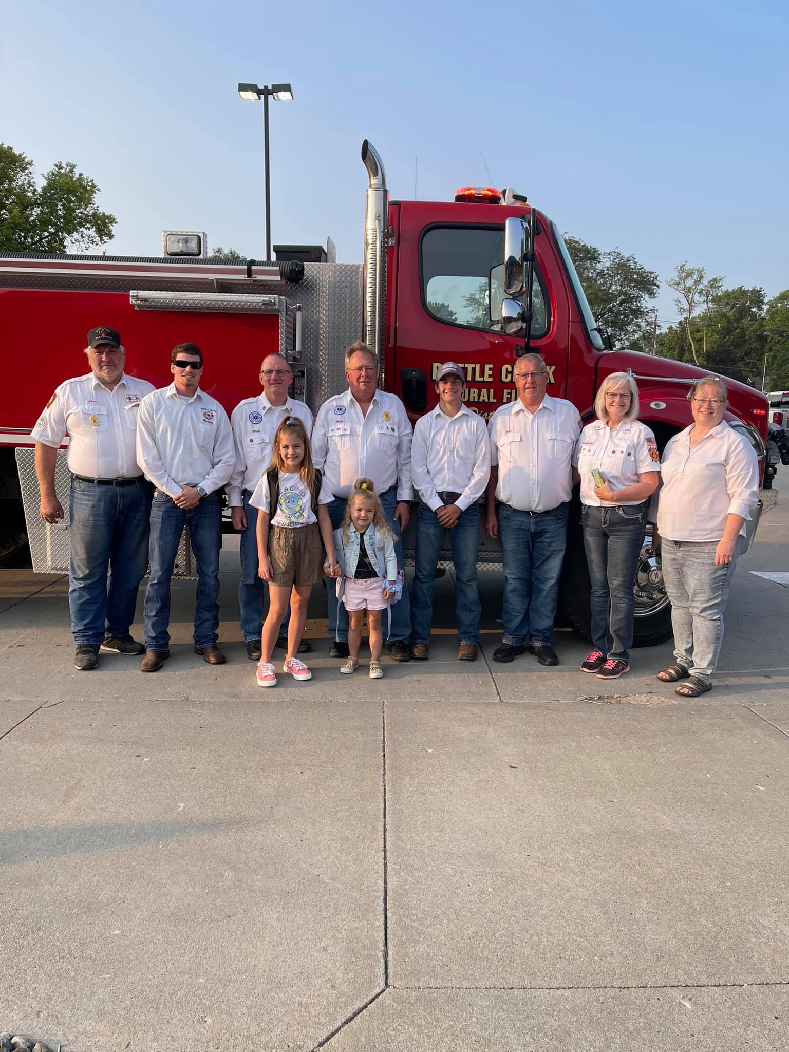 Firefighters make first day of school special, girls get fire truck escort