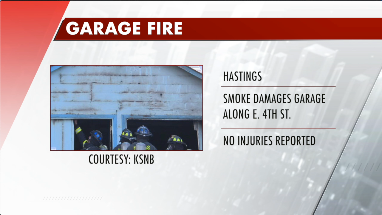 Hastings two-vehicle garage fire, no injuries
