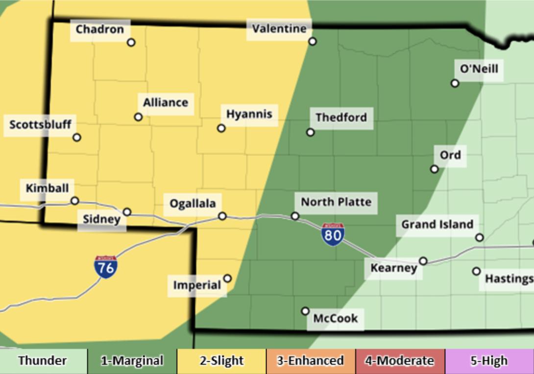 Severe weather threat for western Nebraska Thursday