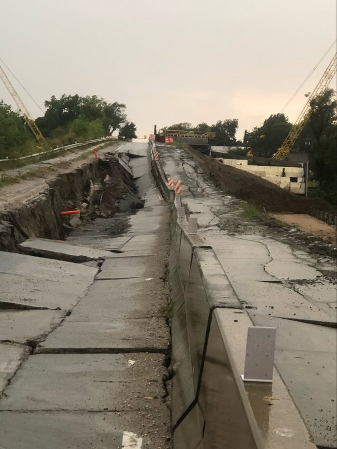 Heavy rains wash out state highway