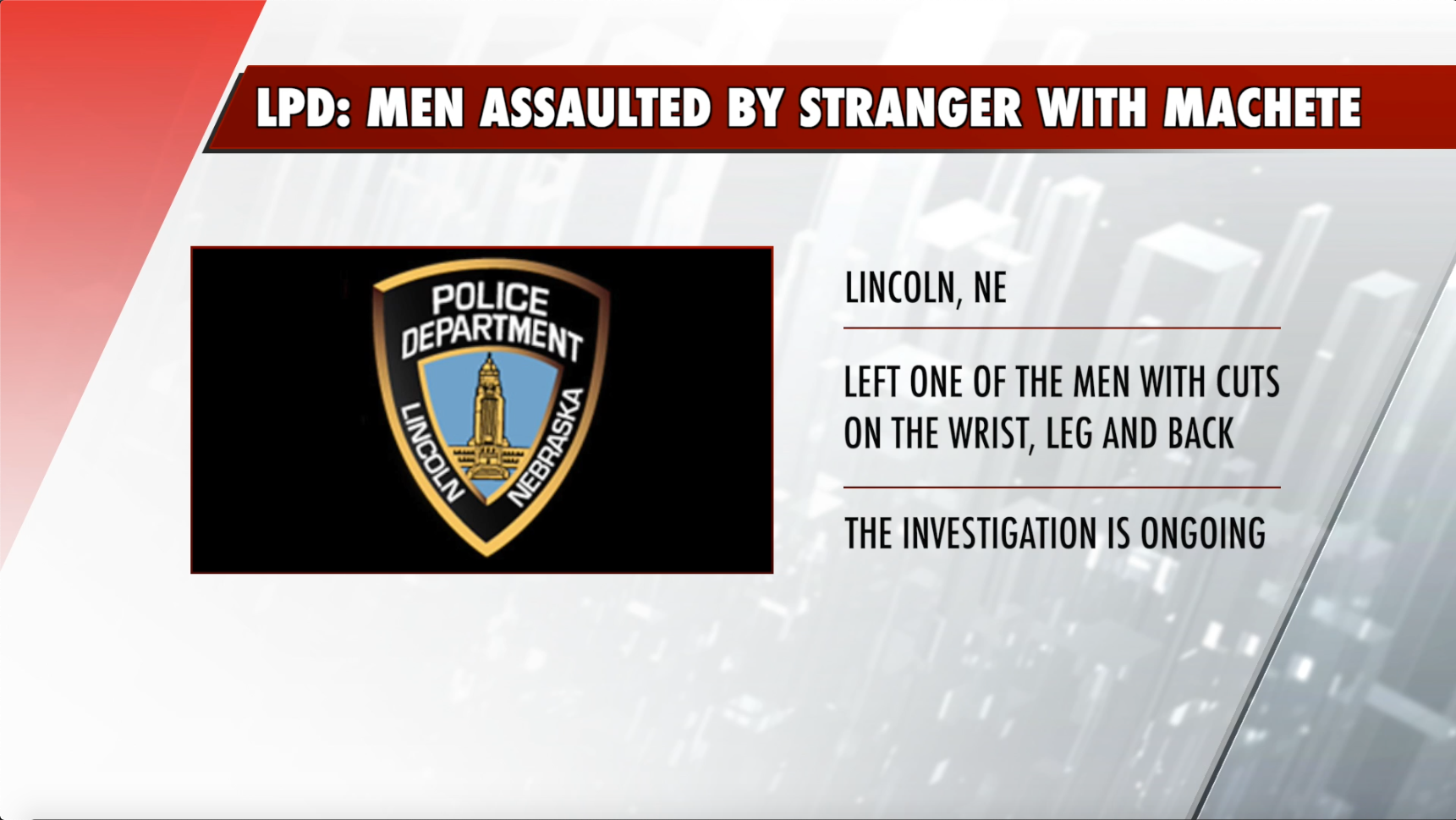 Two men assaulted, while drinking, by stranger with machete