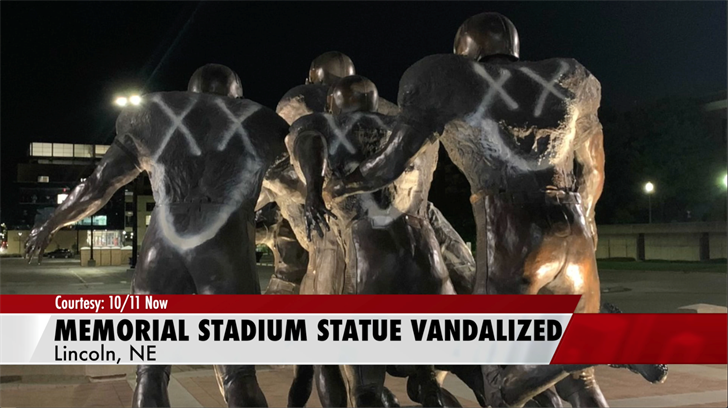 Memorial Stadium statue vandalized, $2K in damages