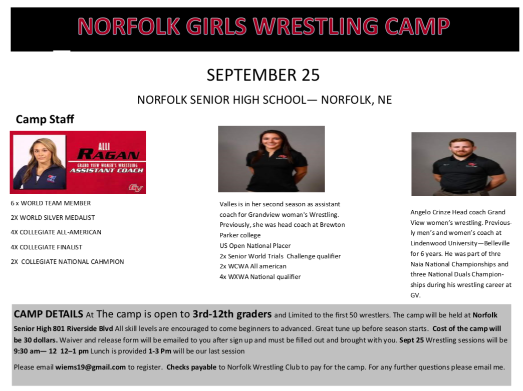 World medalists to coach wrestling camp in Norfolk