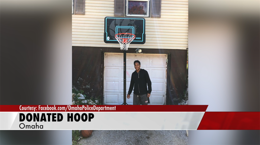 Omaha Police Officer donates basketball hoop to resident