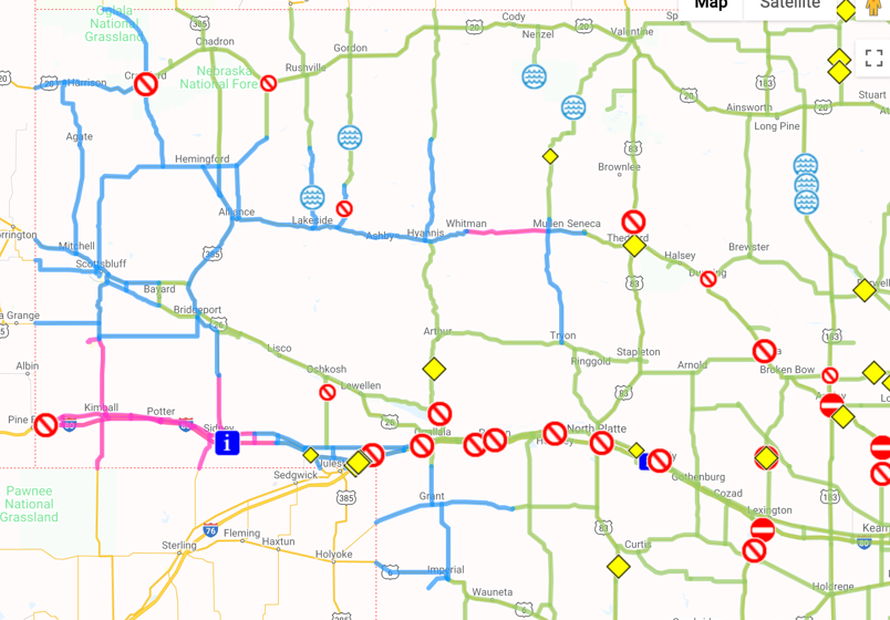 511 nebraska road conditions map Roads Beginning To Be Covered In Snow As Winter Storm Moves Thro 511 nebraska road conditions map