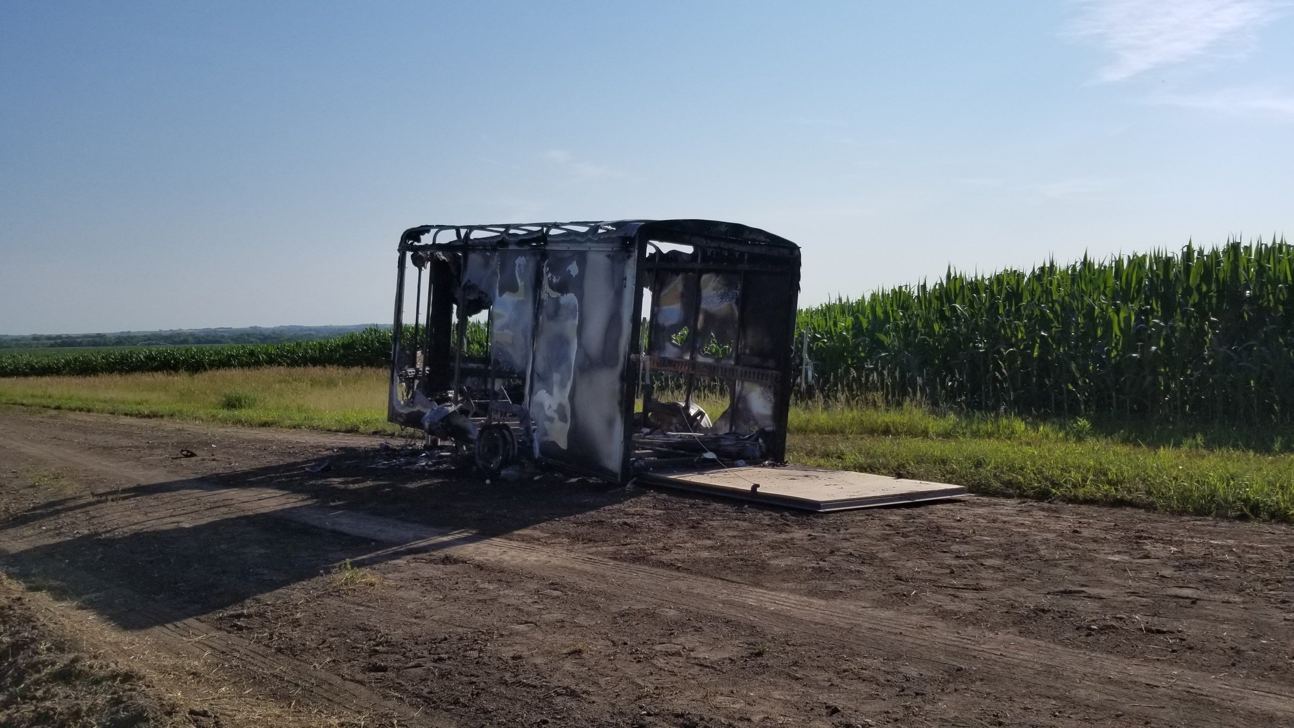 Trailer destroyed by fire