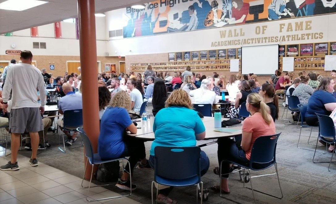 Beatrice Public School Teachers gather in BHS Commons