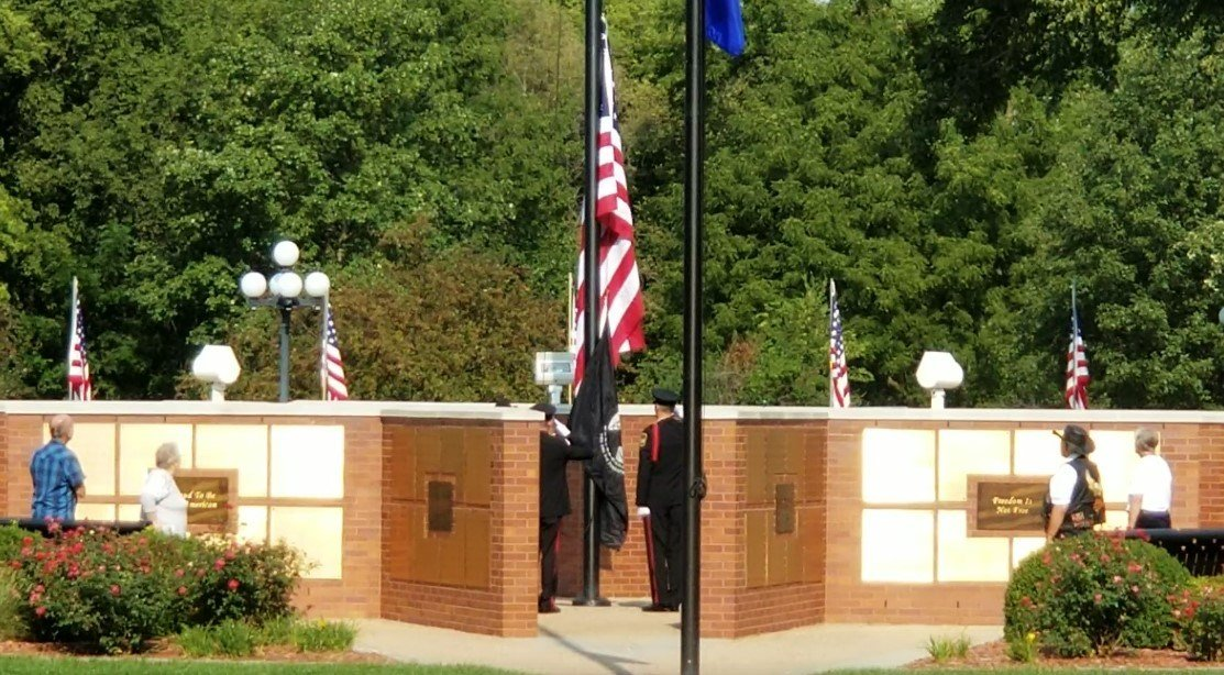 Flag Raising to half-staff, at Veterans Memorial Park